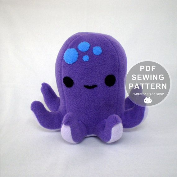 Octopus Plush Pattern, Octopus Sewing Pattern, Plush Octopus DIY ...