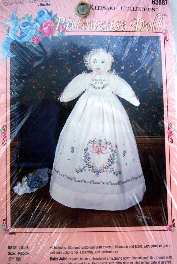 Baby Julie By Bucilla Keepsake Collection Vintage Unopened Stamped Embroidery Pillowcase Doll 1992 #pillowcasesandpillowcasedolls