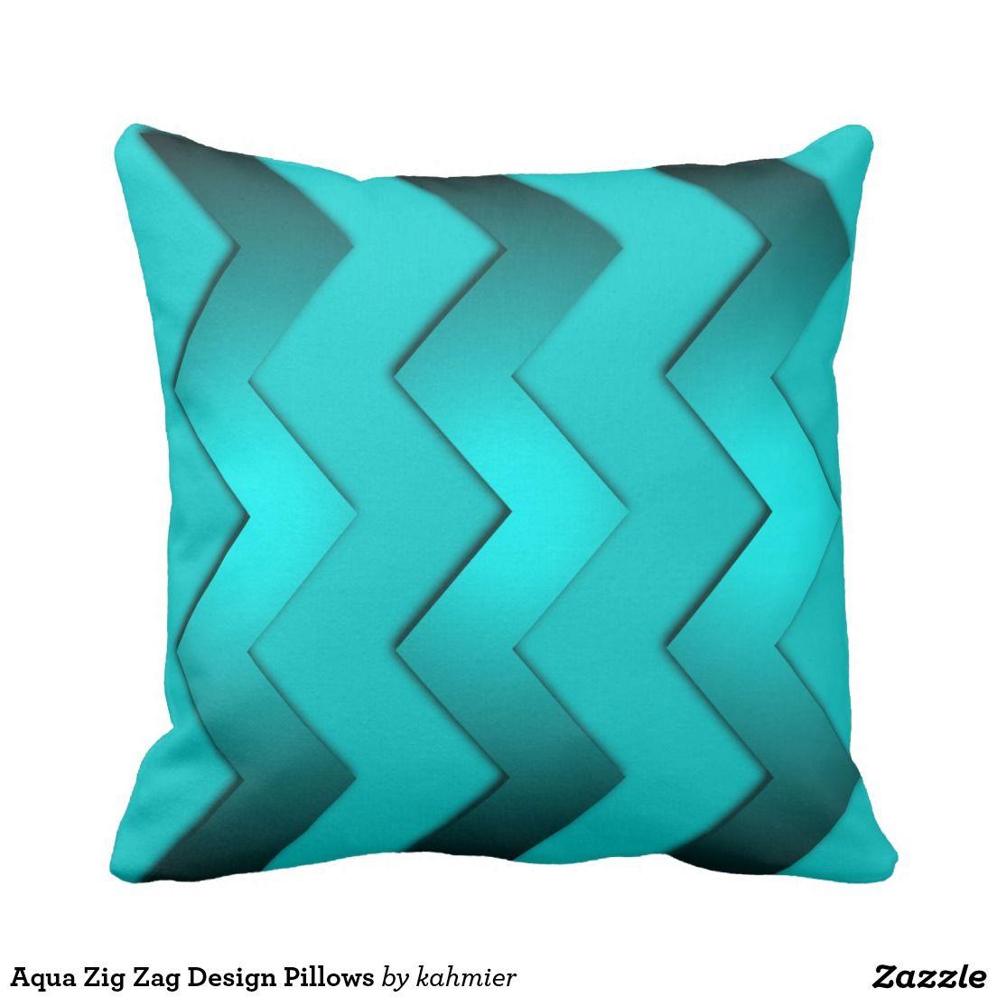 Aqua Zig Zag Design Pillows 40% off with code CYBRWEEKSALE
