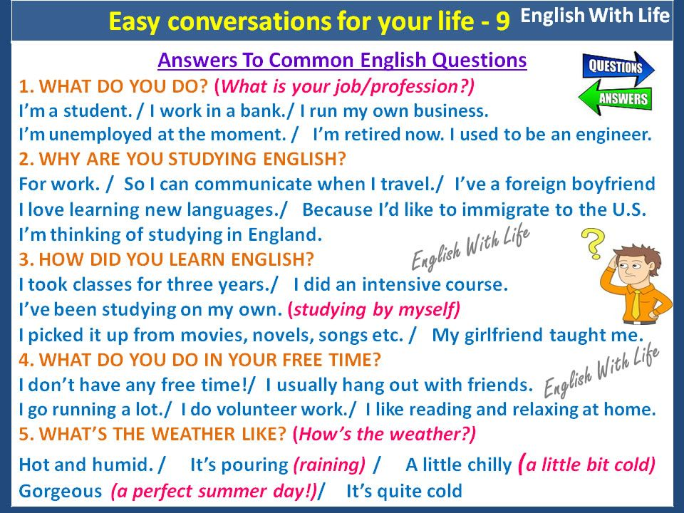 Answers To Common English Questions With Images Learn English