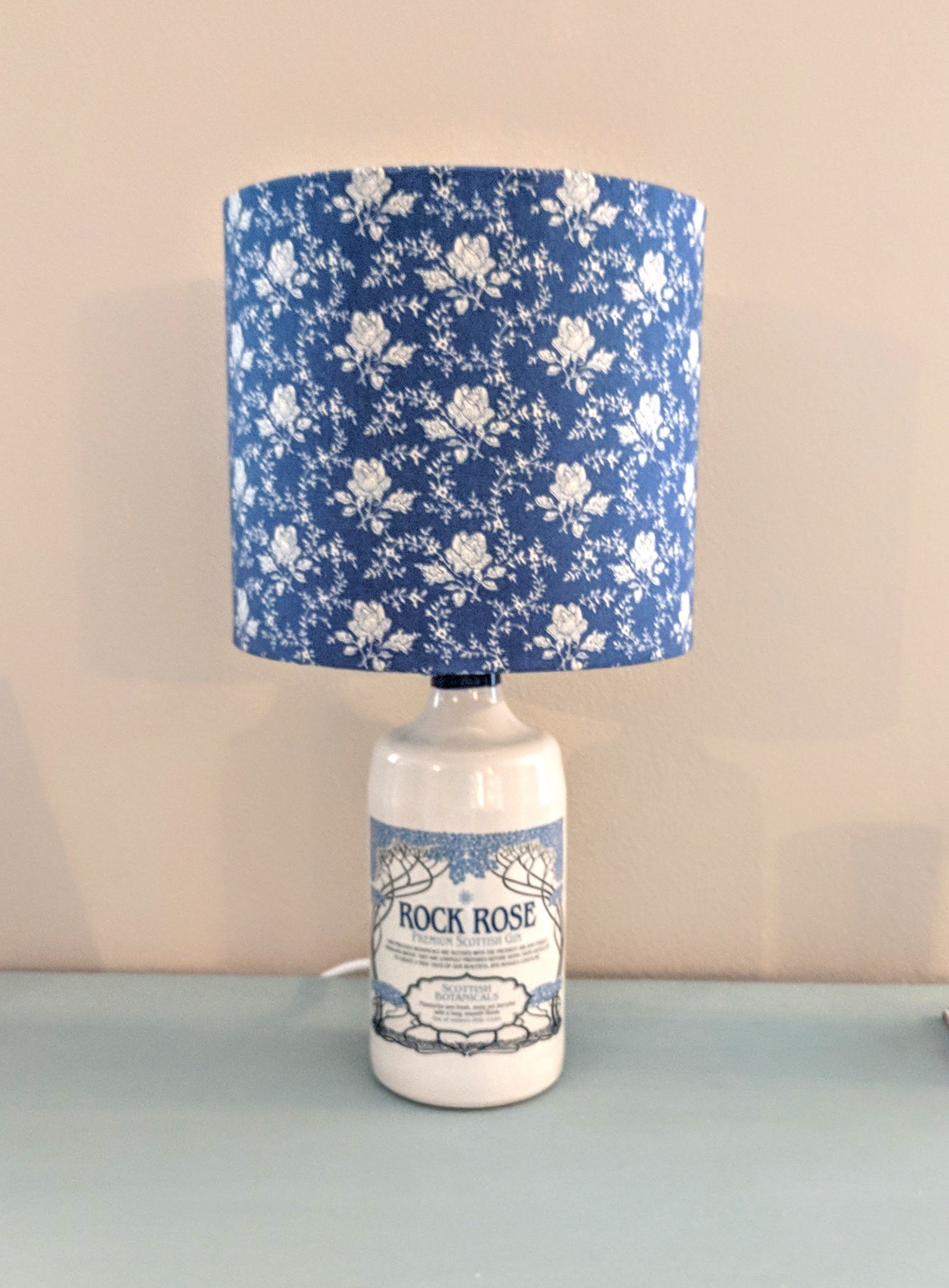 Rock Rose Gin Table Lamp With Optional Blue And White Roses