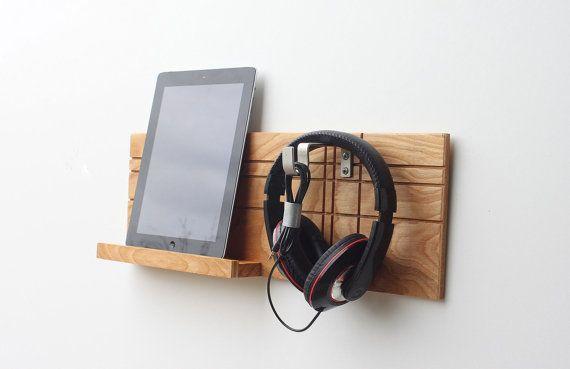 Dorm Decor iPad Wall Mount Headphone Holder Headphone Storage iPad Holder Headphone Stand Wall Mounted Headphone Rack Headphone Rack