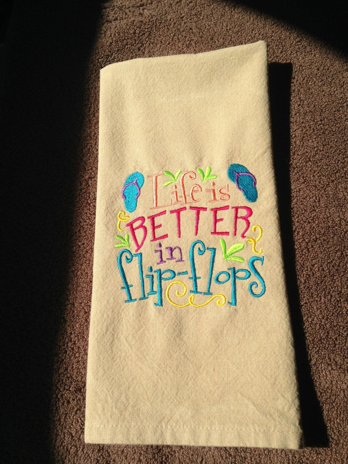 Embroidered Kitchen Towel Beach Themed Flip Flop Tea Summer By Luvhoourdesigns On