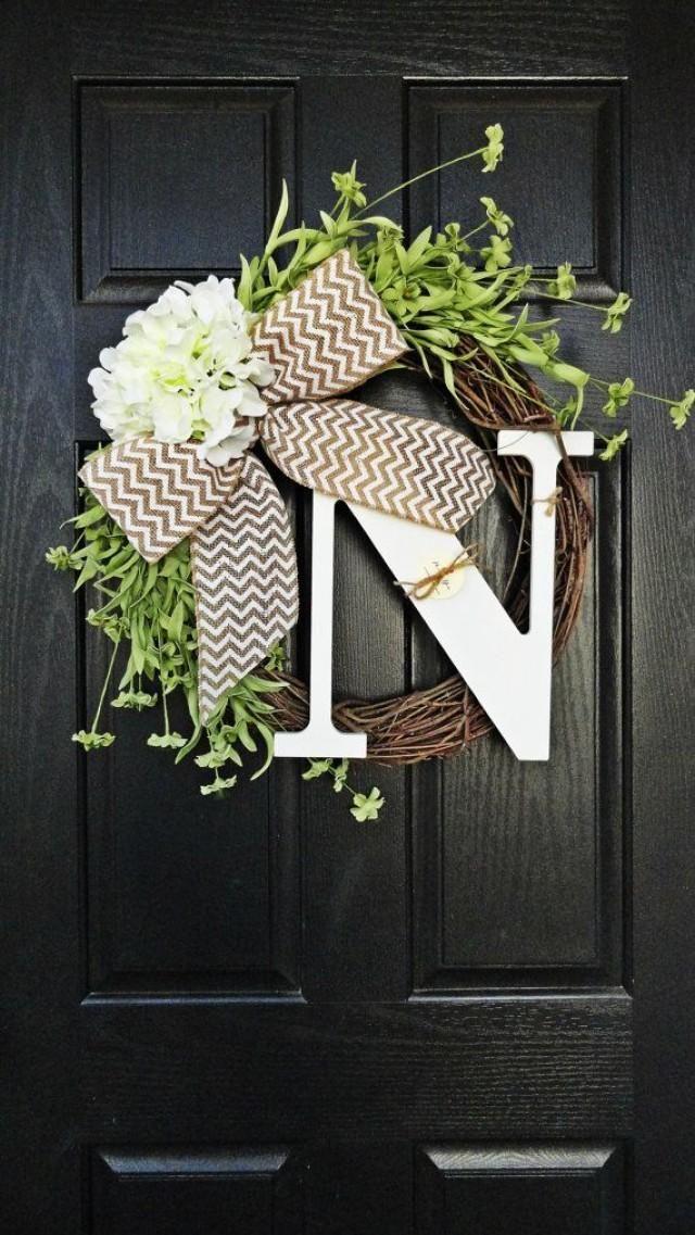 Spring and Summer Wildflower, Hydrangea, and Chevron Burlap Wreath With White Monogram, Spring Hydrangea Wreath. Year Round Wreath