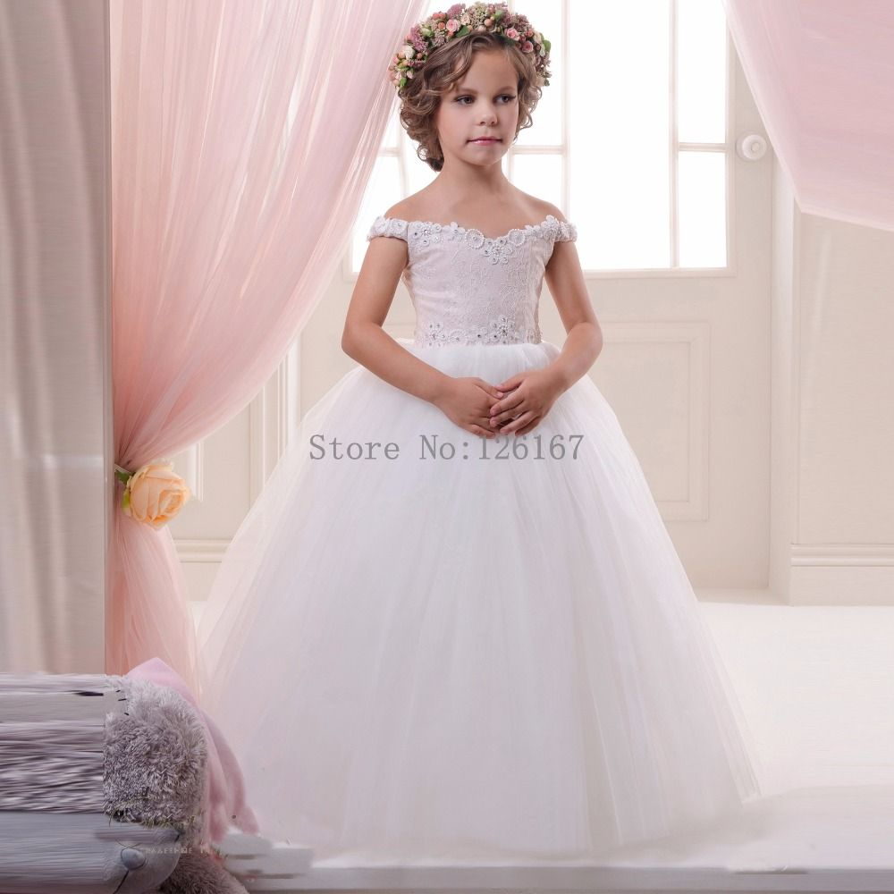 Aliexpress.com   Buy Off shoulder first communion dresses for girls 2016  New fashion Cute Pageant Gowns flower girl dresses for weddingsCGF086 from  Reliable ... 99359f69d925
