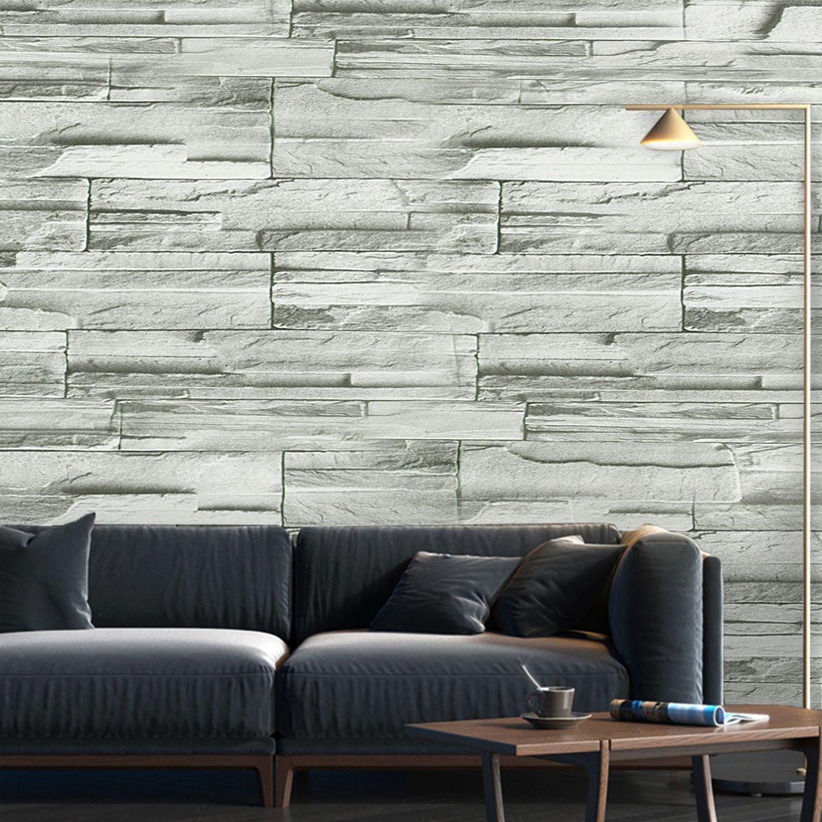 10m Rustic Grey Brick Self Adhesive Wallpaper Home Living