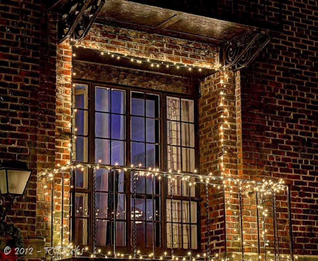 christmas lights on apartment balcony