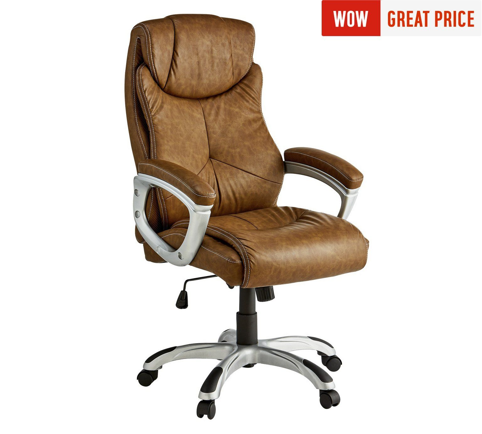 Buy X-Rocker Leather Effect Executive Chair - Brown at Argos.co.uk ...