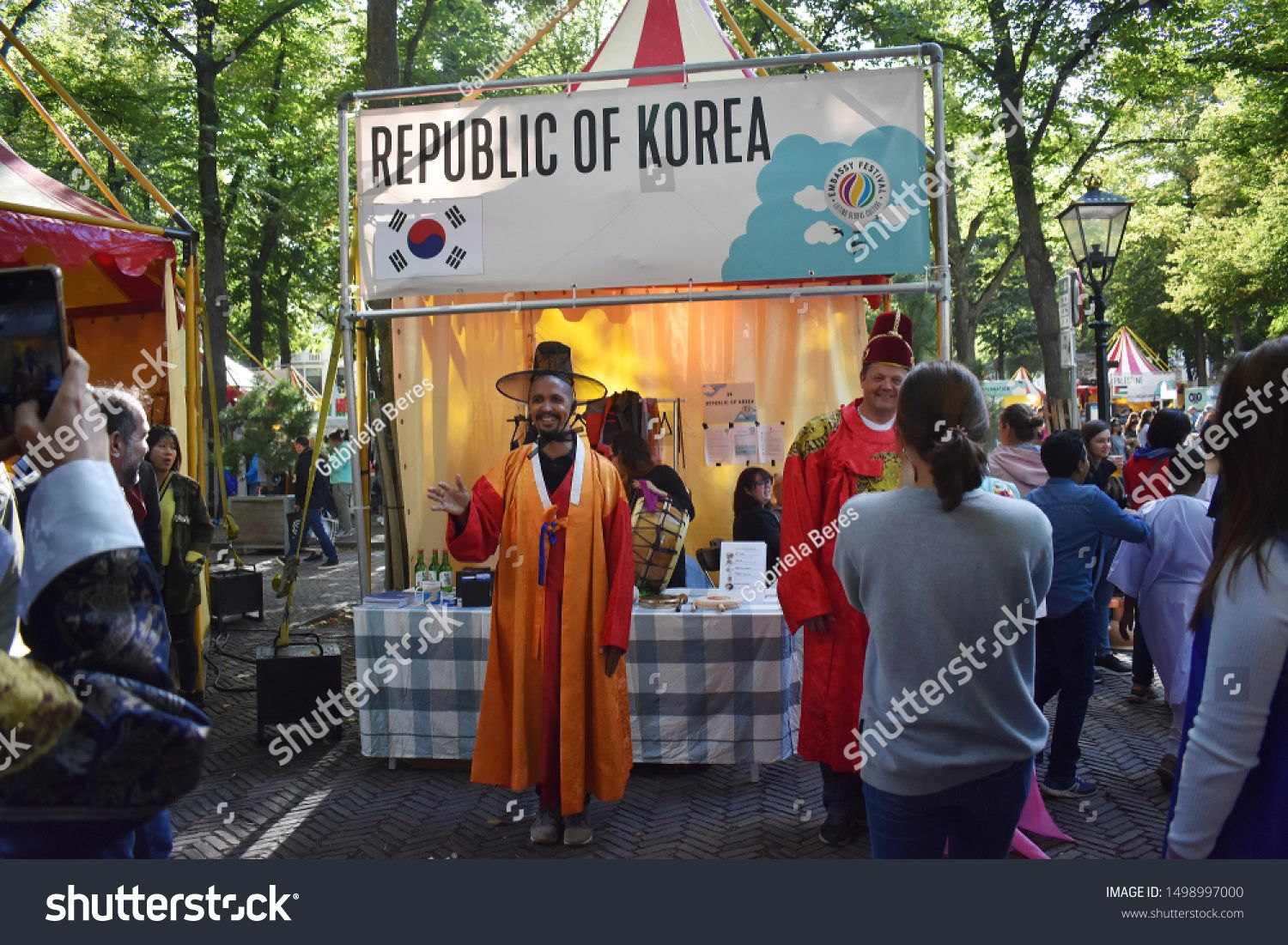 7 September 2019, The Hague, Netherlands. The annual Embassy Festival, a cultural world-trip with authentic music, dance, souvenirs, food and drinks from all corners of the world.\nPeople take pictures #Sponsored , #sponsored, #Festival#Embassy#world#cultural