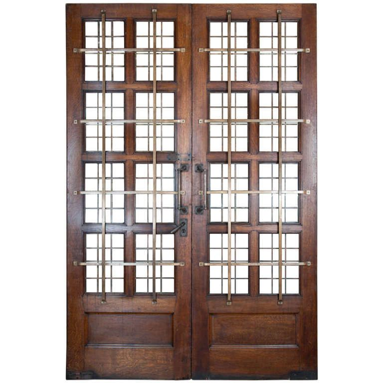 Grand 1920s Oak Copper Glazed Double Doors with Bronze Bars  sc 1 st  Pinterest & Grand 1920s Oak Copper Glazed Double Doors with Bronze Bars | Modern ...