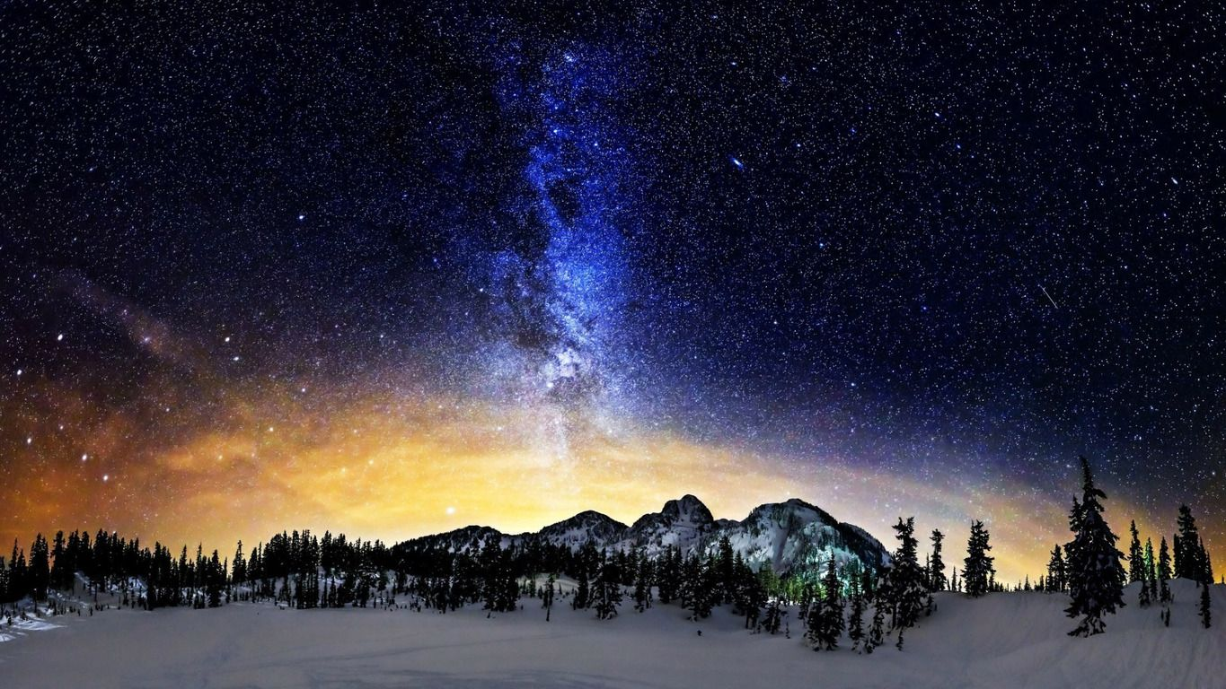 milky way wallpaper | download milky way above the snowy mountains