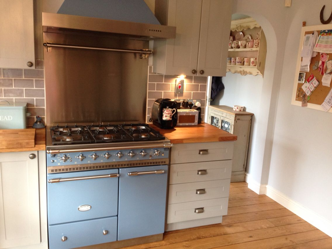 Prussian Blue Lacanche Range Cooker, Grey Hand Painted Oak Kitchen Units,  Pewter Cupboard Handles