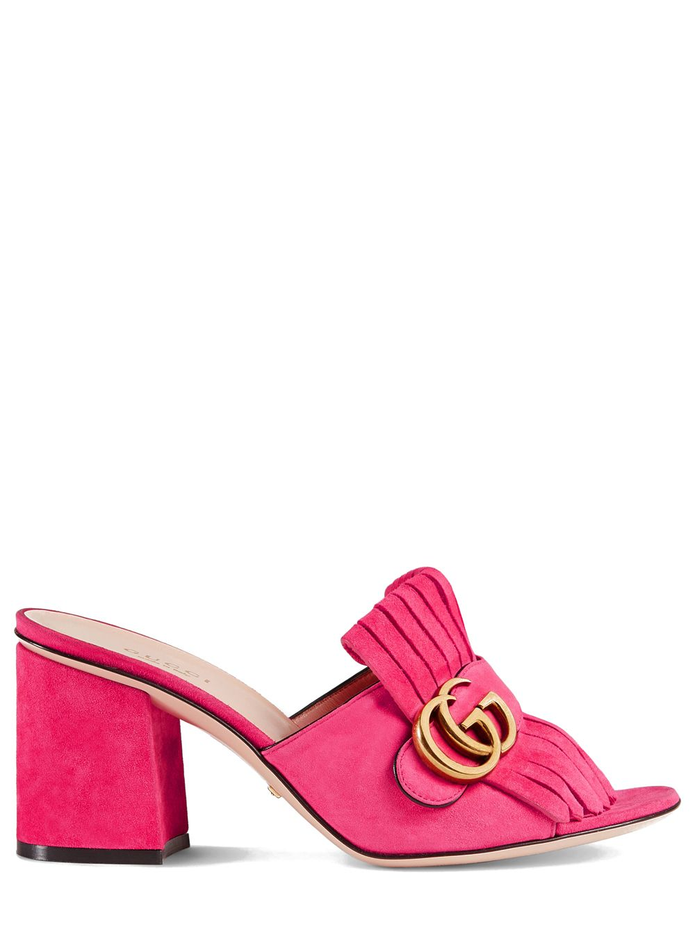 c7954af08ed Gucci Pink Suede Mid-Heel Slide Mules