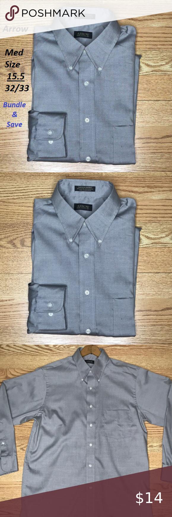 Arrow Grey Button Down M 15 1 2 32 33 Mens Shirt Dress Clothes Design Long Sleeve Shirts