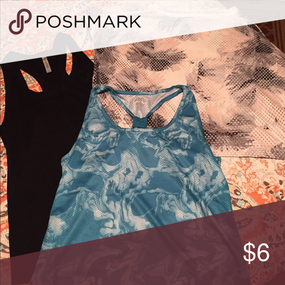 Fitness tanks; $6 each or bundle to save Fabletics black racetrack tank-small; Fabletics grey/pink mesh crop-small; Blue/white tie dye tank with gathered back-small Tops Tank Tops