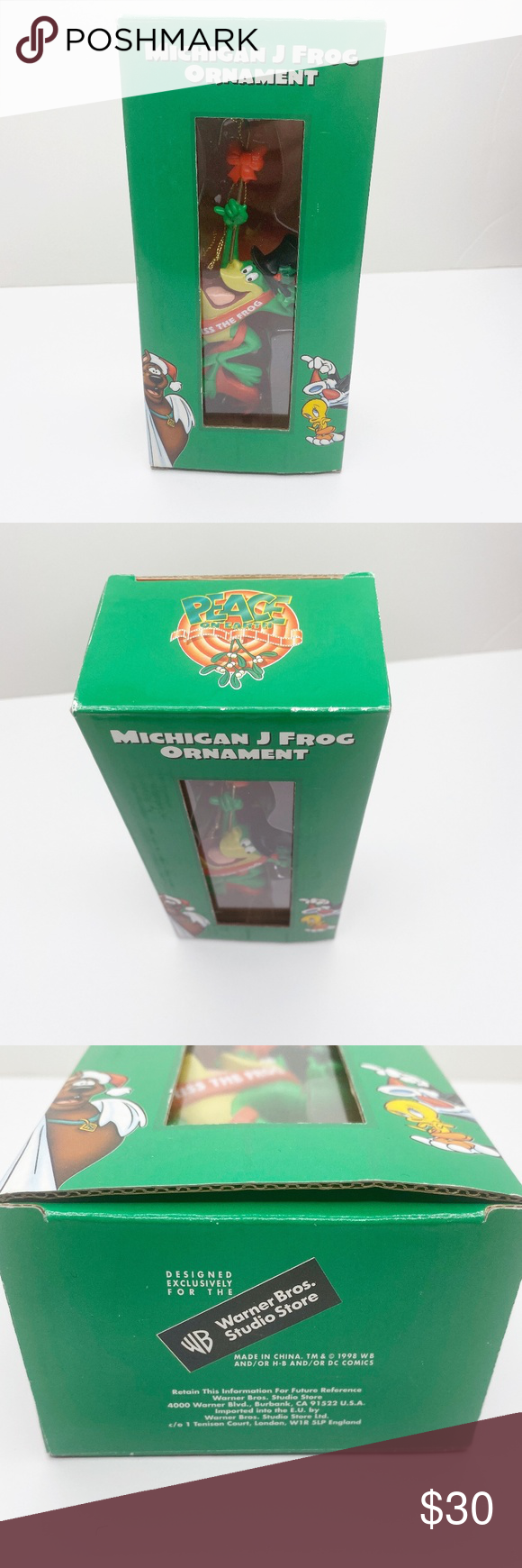 Warner Bros | Michigan J Frog Vintage Ornament Condition: NIB new in box  Vintage Michigan J Frog ornament from Warner Bros Studio Store  Copyright 1998 Warner Bros. Holiday Ornaments #warnerbros