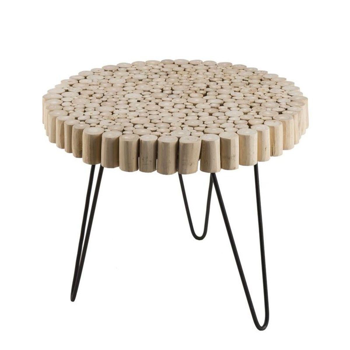 Bout De Canape Bois De Teck Metal Forme Ronde Jaipur Table D Appoint Ronde Bout De Canape Bois Et Table D Appoint
