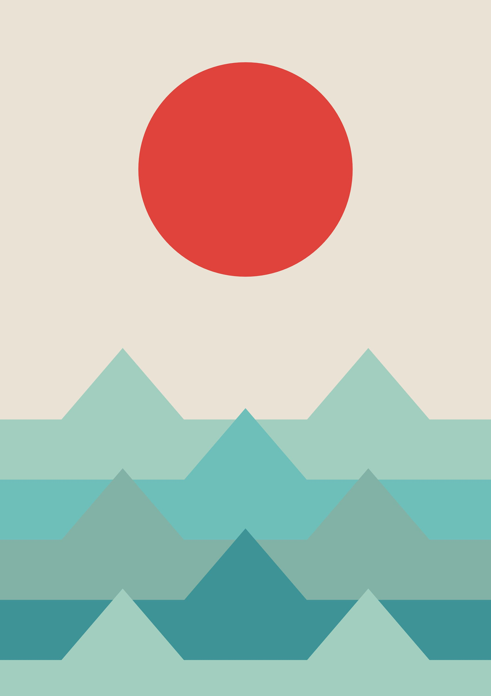 Ocean Sunset Sunrise Geometric Landscape Sea Prints Ocean