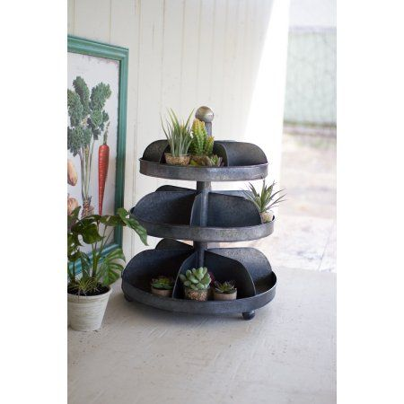 21 Galvanized Metal 3 Tier Hardware Tray Spinner Lazy Susan With Compartments Metal Table Top Farmhouse Hardware Painted Fox Home