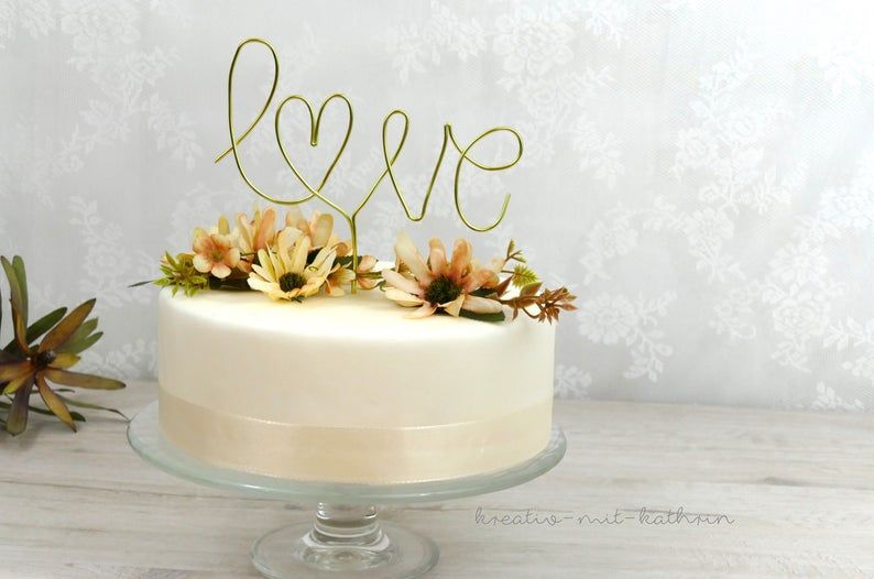 cake love design images Caketopper Love Heart of Wire Cake Decoration Lettering Cake