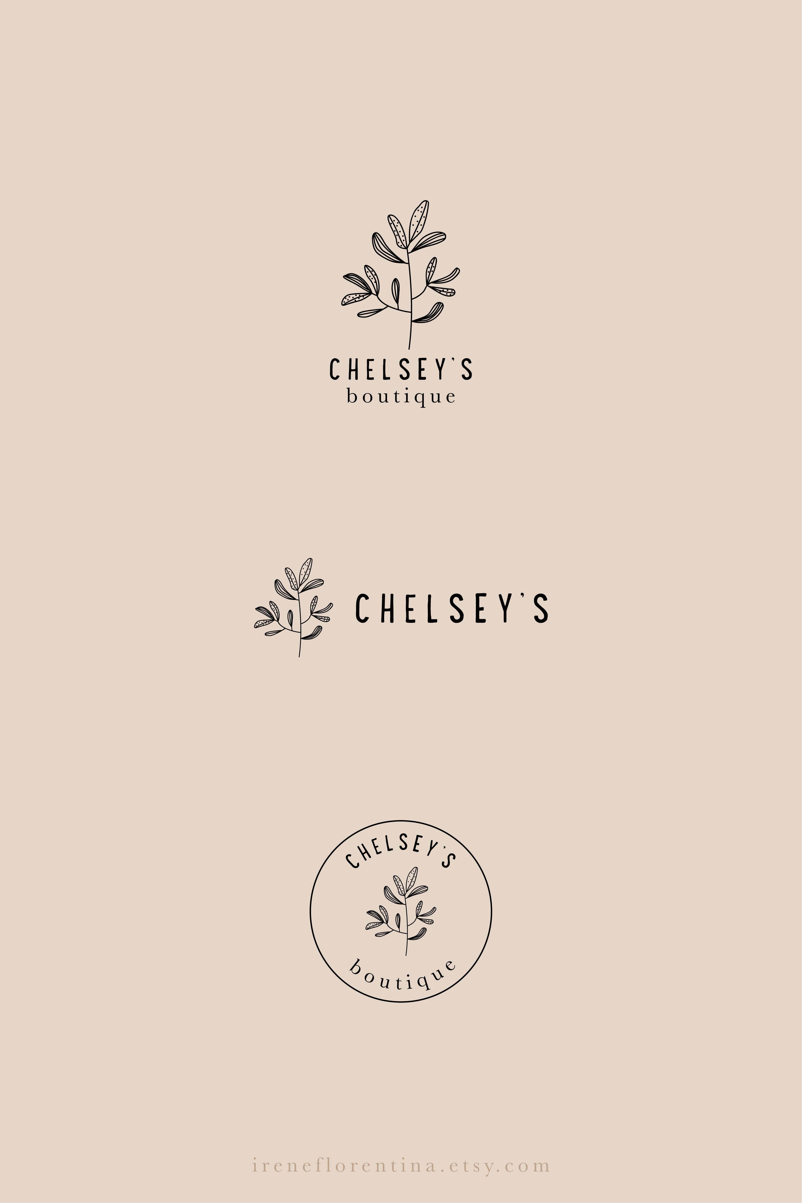 Boutique Business Logo Design Set Floral Photography Botanical