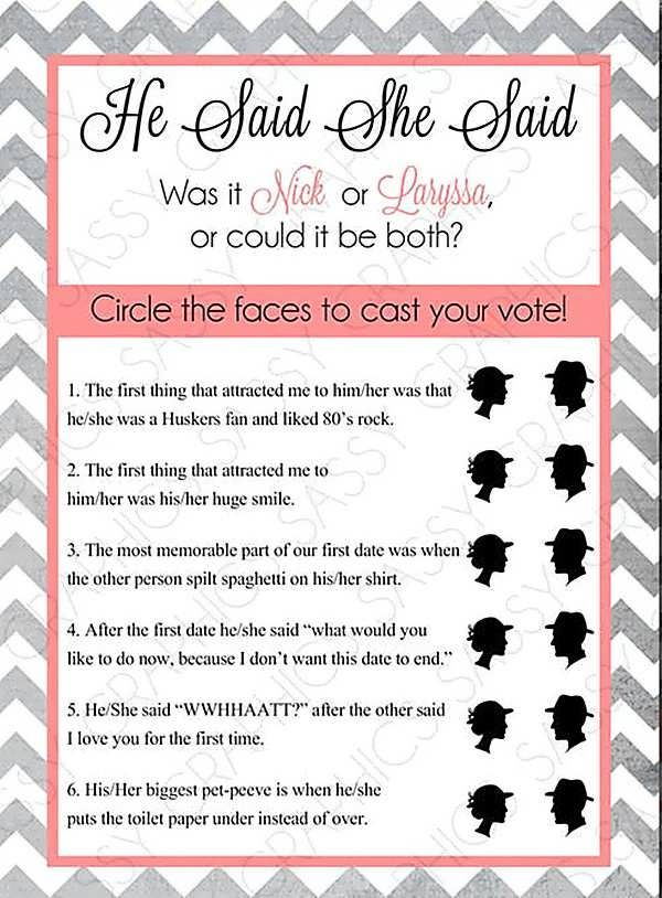 guess who bridal shower game questions
