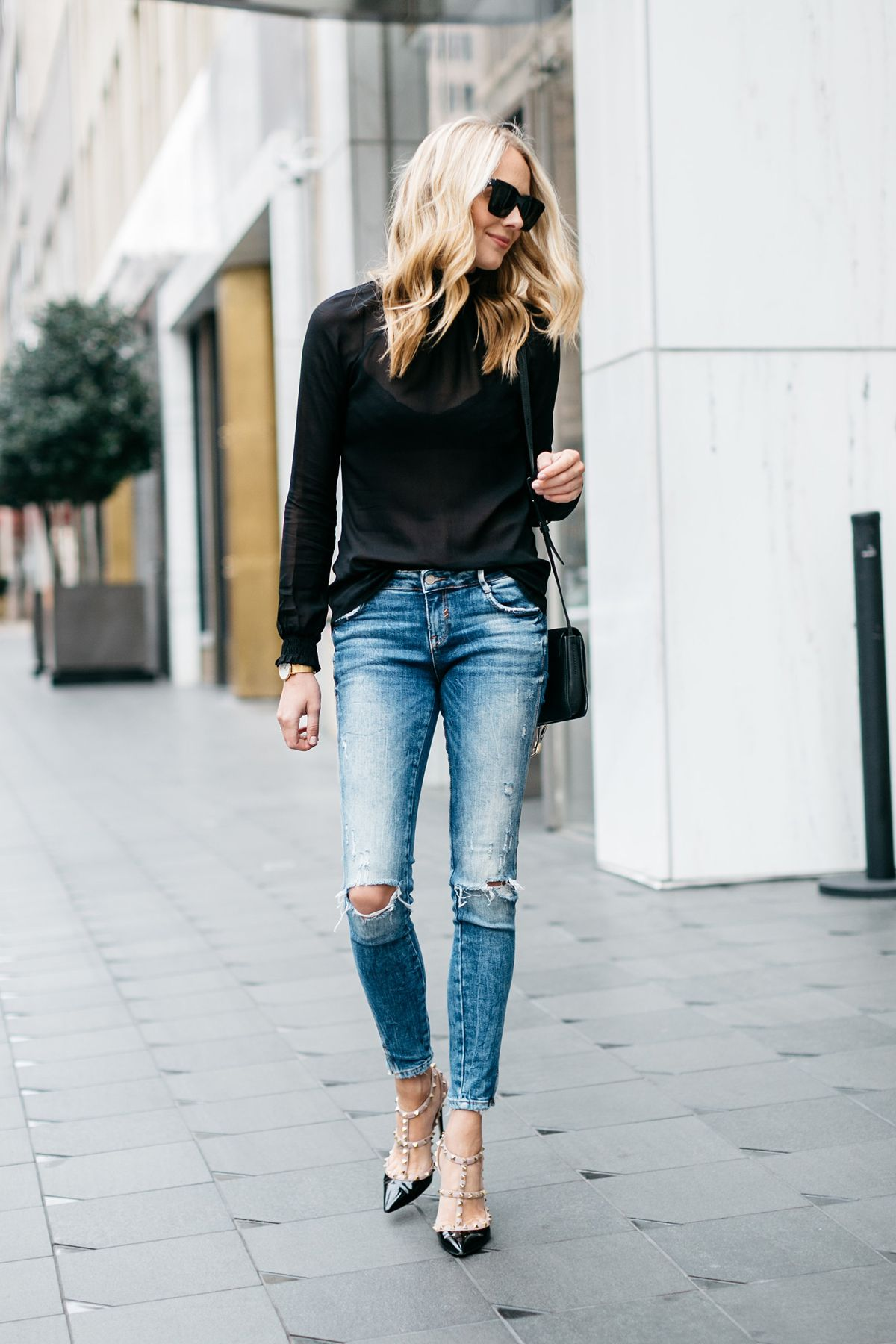 Fall Outfit, Black Long Sleeve Sheer Top, Denim Ripped ...