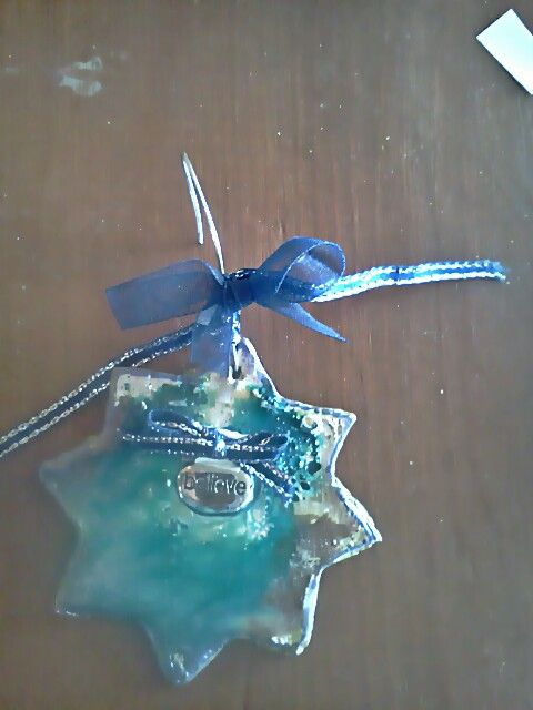 Polymer clay ornament using ranger inks, utee, charm imbedded ...