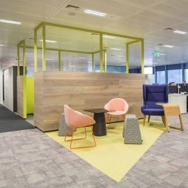 Cool office interior. Brights, neon, furniture, modern, contemporary, pattern.