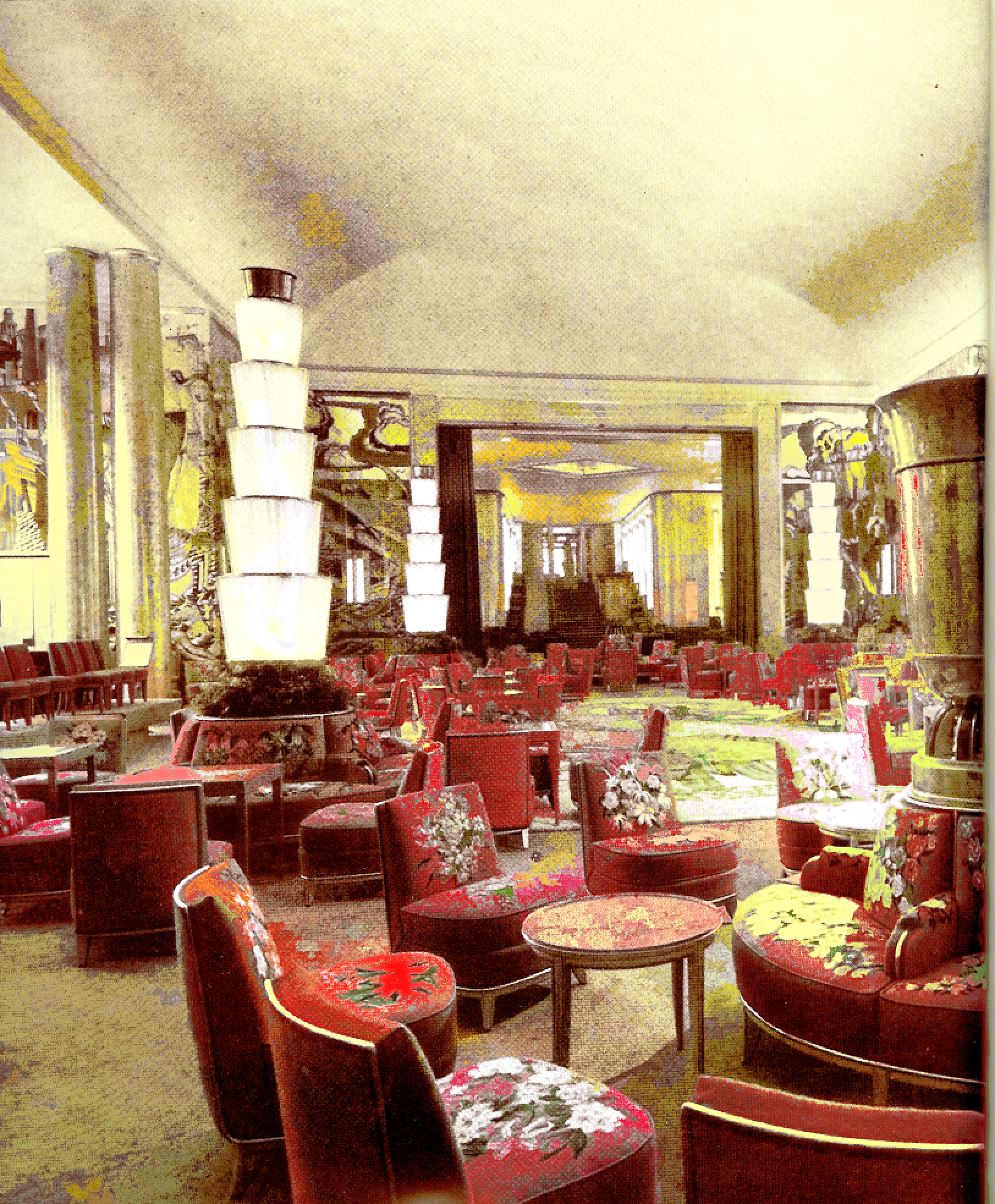 First Class Lounge On The Normandie Color Design Inspiration Nautical Interior Design Art Deco