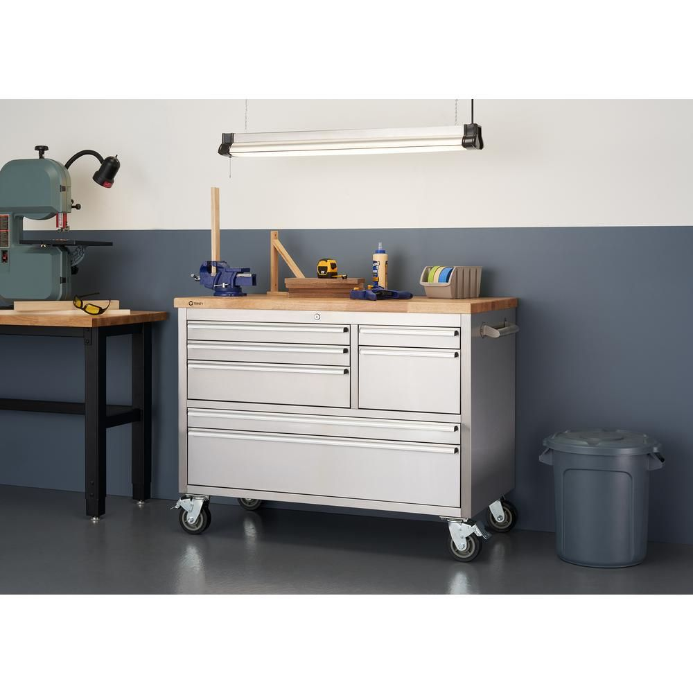 Awe Inspiring Trinity 4 Ft 7 Drawer Stainless Steel Workbench With Andrewgaddart Wooden Chair Designs For Living Room Andrewgaddartcom