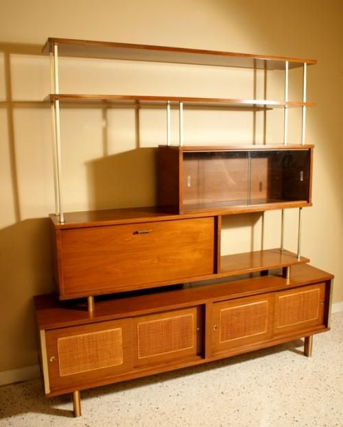 Vintage Mid Century Modern Wall Unit, Room Divider, Shelving and Bar