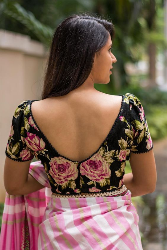 01d2f8a8a2e35b floral boat neck blouse design | blouse designs | Blouse designs ...