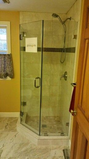 Neo Angle Frameless Shower Door With No Header Required Brushed