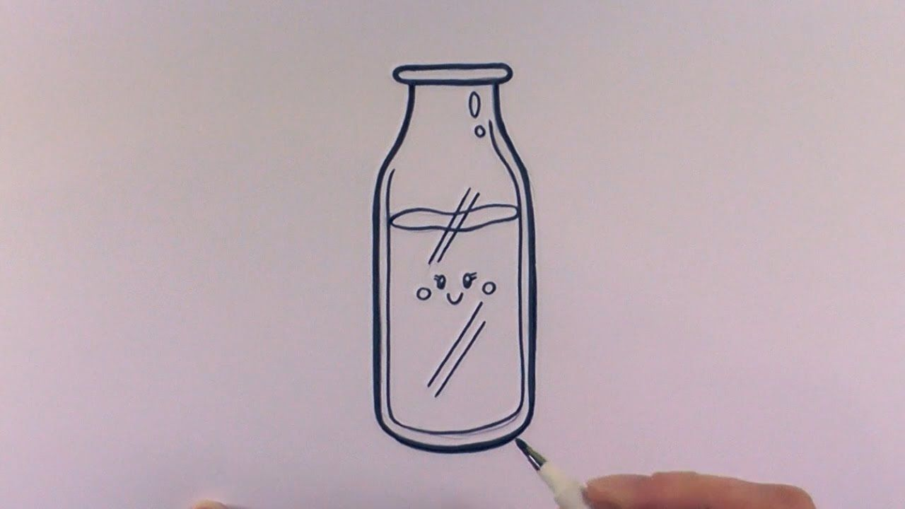 How to draw a cartoon bottle of milk