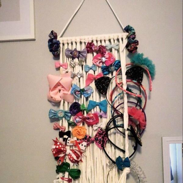 Photo of Nordic Woven Tassels Girls Haarnadel Haarspangen Aufbewahrungsgürtel Wandbehang Haarschmuck Organizer