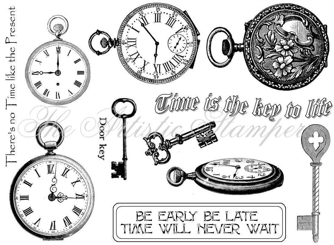 Time and keys from the artistic stamper love this set