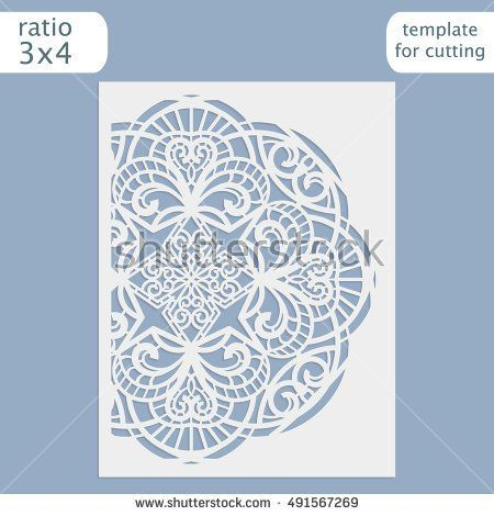 Laser cut wedding invitation card template Cut out the paper card - greeting card template