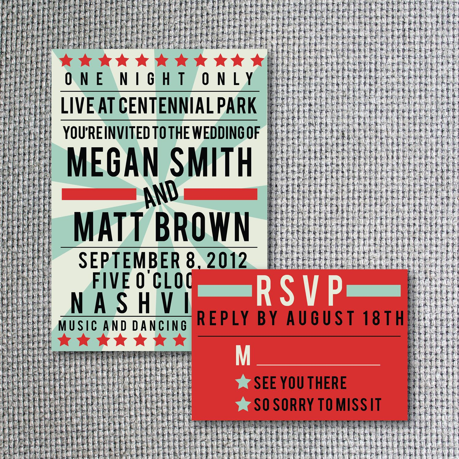 Set of 50 Concert Poster Wedding Invitations and RSVPs. $165.00, via ...