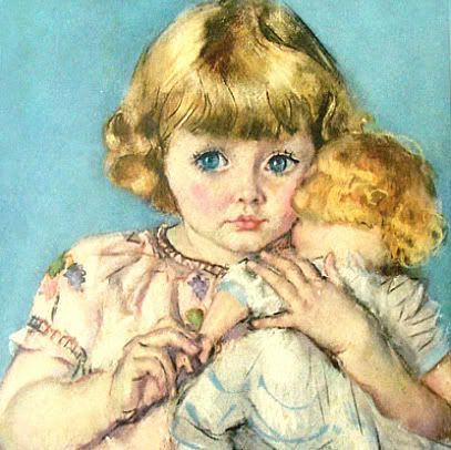 Vintage illustration / print / lithograph of a little girl with her doll.