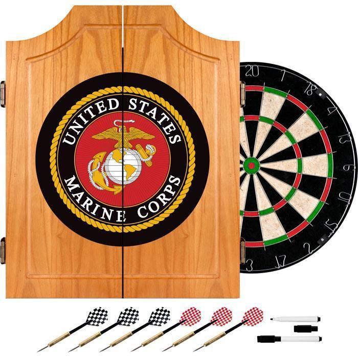 Usmc7000 B United States Marine Corps Wood Dart Cabinet Set Dart