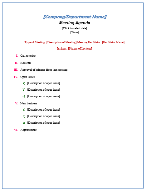Formal Meeting Agenda  Official Templates