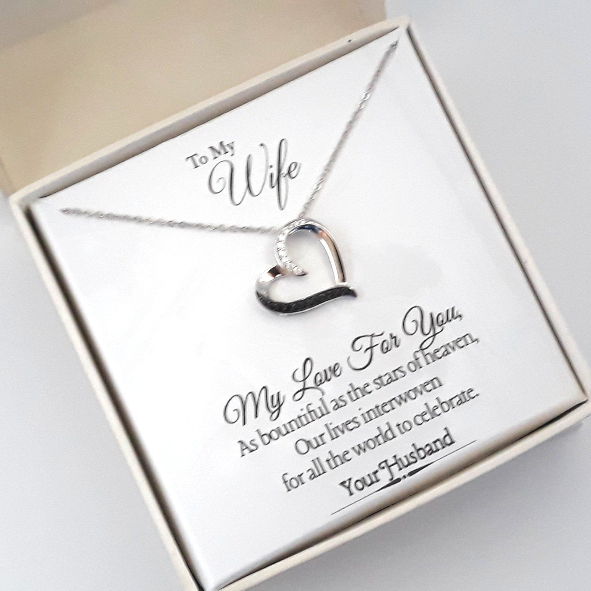 925 STERLING SILVER NECKLACE I LOVE MY WIFE /& HUSBAND Birthday Pendant Love Gift