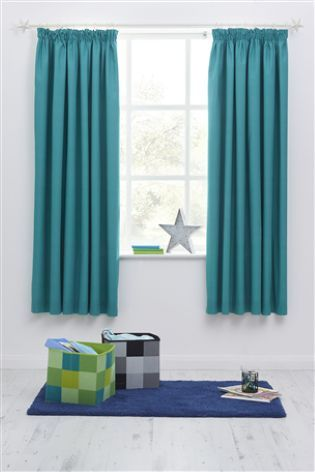 b88590b9f797 Teal Blackout Pencil Pleat Curtains | DP Girls Bedroom | Curtains ...