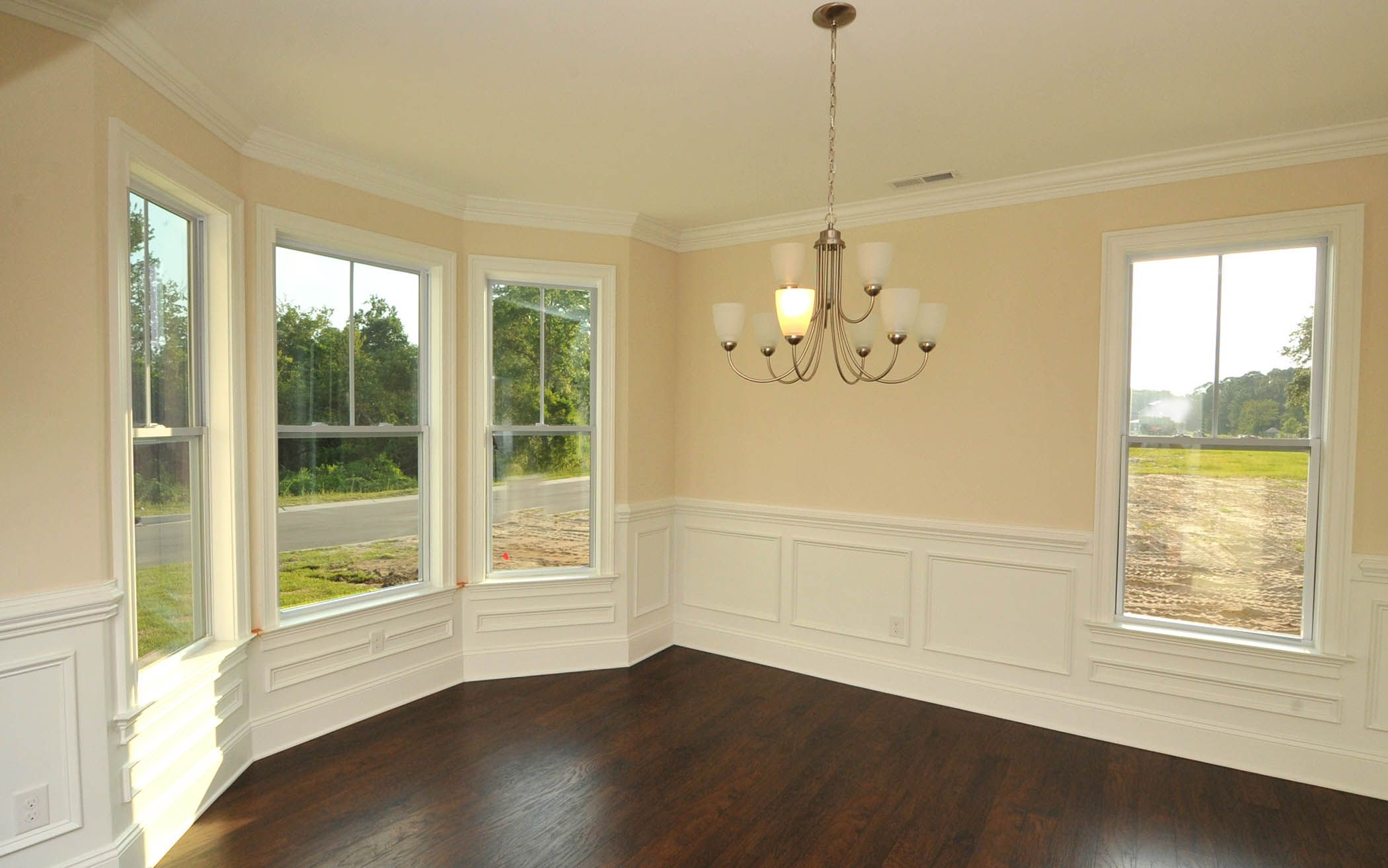 Formal Dining Area With Bay Window And Wainscoting New Homes Bay Window Wainscoting