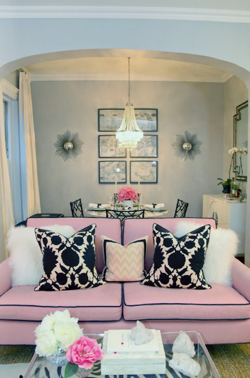 Black And White And Pink Living Room pink sofa, pale ice blue living room. erin gates via decorpad