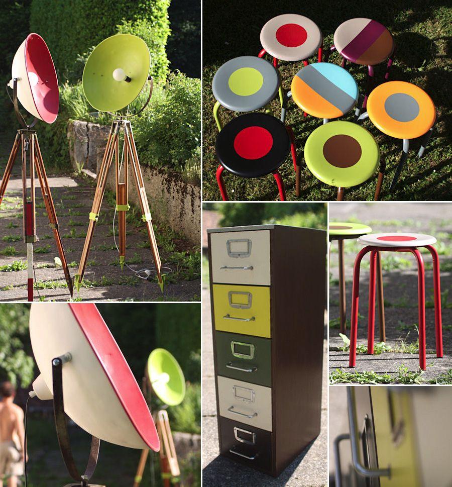 Viejos Muebles Renovados Y Pintados Con Colores Vivos Objet Deco Design Mobilier De Salon Panier En Papier
