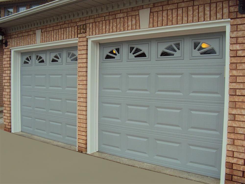 C H I Overhead Doors Model 2283 Steel Raised Panel Garage Doors In Gray With Sherwood Glass Garage Doors Garage Door Panels Overhead Garage Door