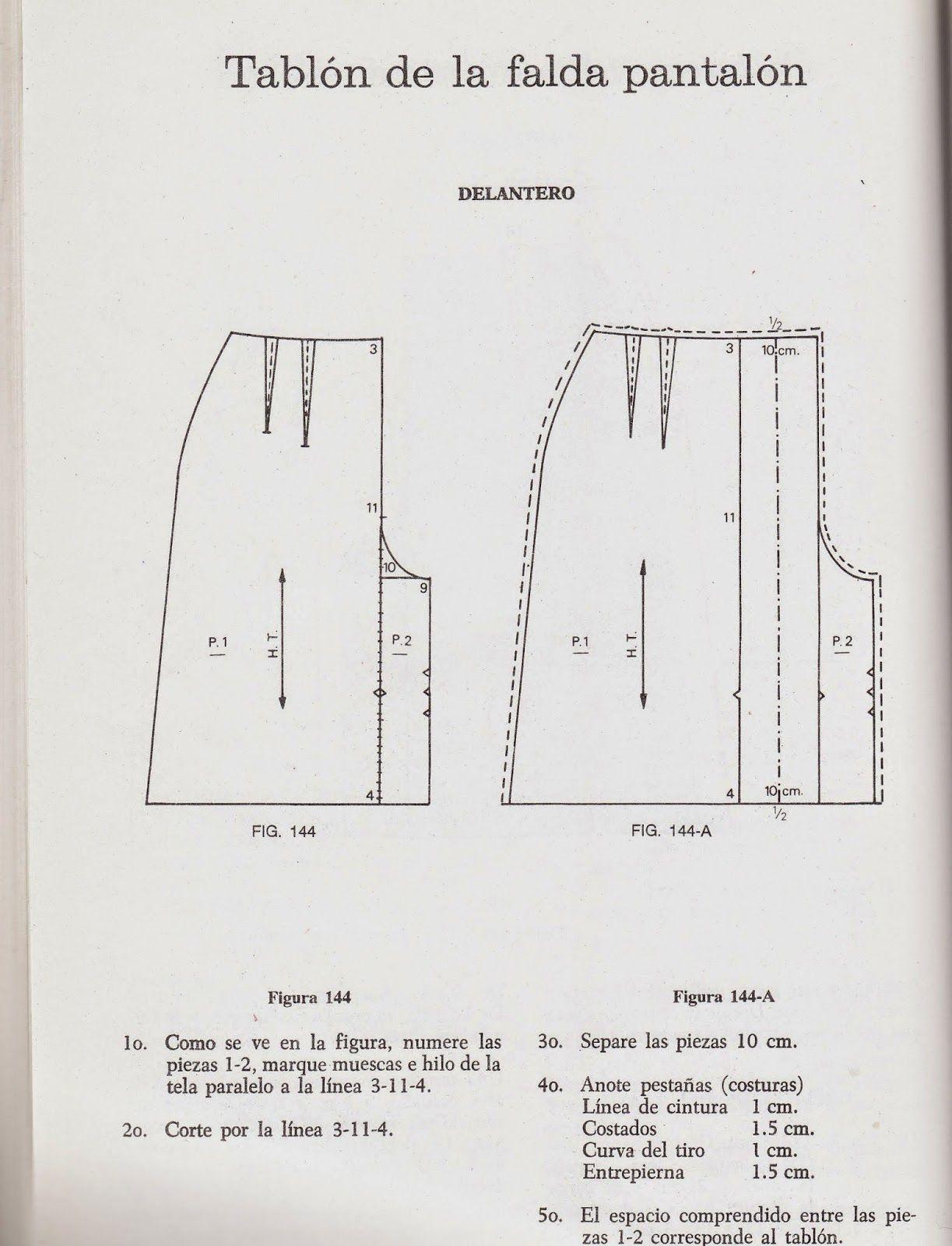 58ababb7f trazo falda pantalon con tablon | Patrones | Patrones, Patrones de ...