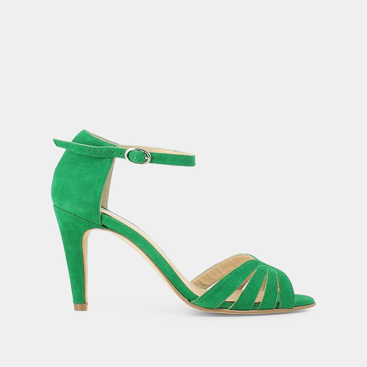 Sandales à lanières en velours vert Jonak marine